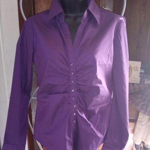 New York And Company Stretch Purple Blouse